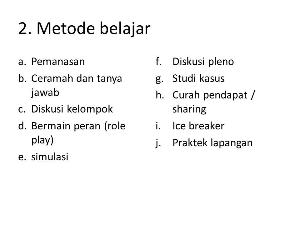 2. Metode belajar Pemanasan Ceramah dan tanya jawab Diskusi kelompok