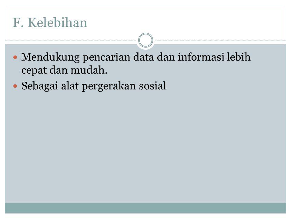 F. Kelebihan Mendukung pencarian data dan informasi lebih cepat dan mudah.