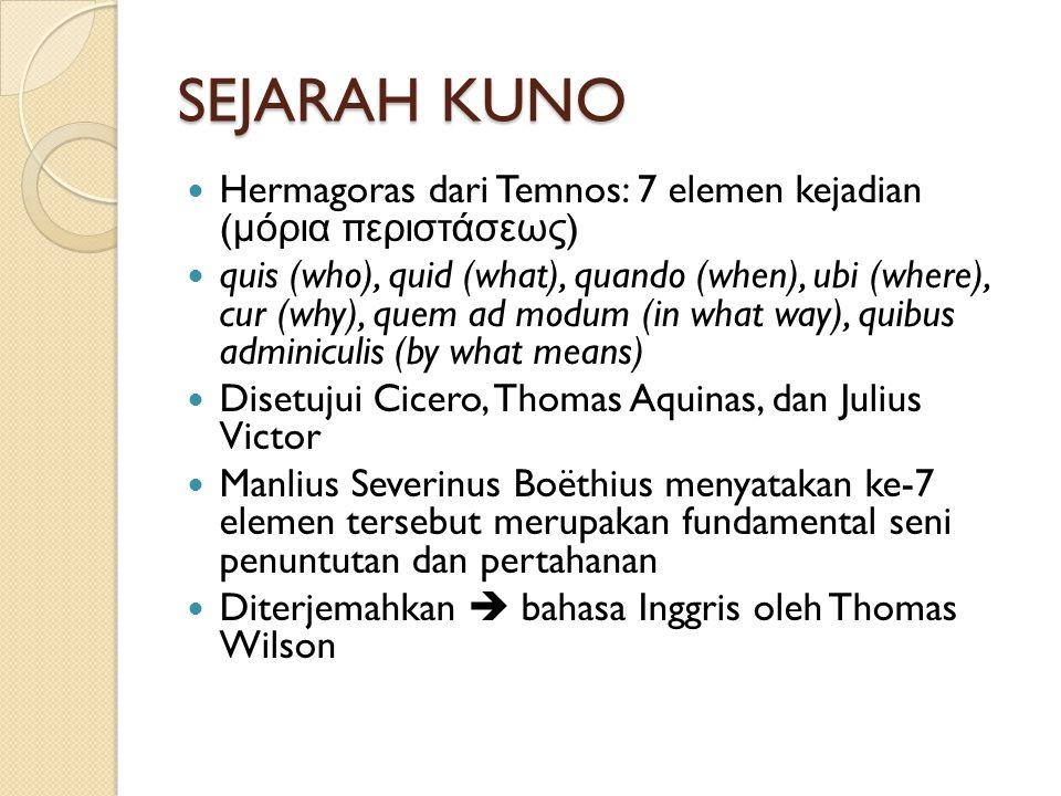 SEJARAH KUNO Hermagoras dari Temnos: 7 elemen kejadian (μόρια περιστάσεως)