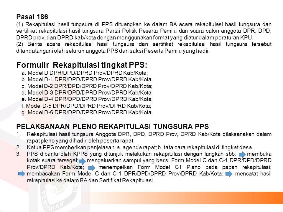 Formulir Rekapitulasi tingkat PPS: