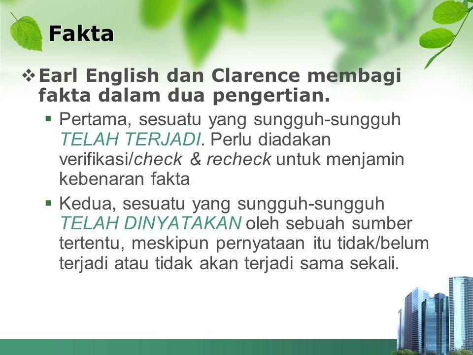 Fakta Earl English dan Clarence membagi fakta dalam dua pengertian.