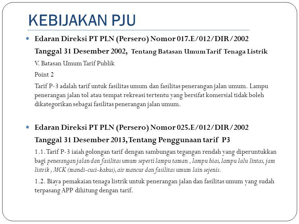 KEBIJAKAN PJU Edaran Direksi PT PLN (Persero) Nomor 017.E/012/DIR/2002