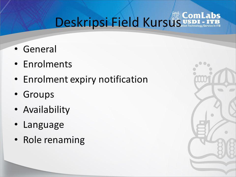 Deskripsi Field Kursus