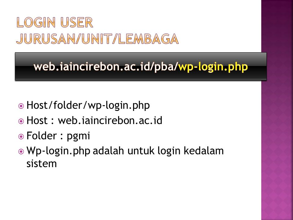 Login user jurusan/unit/lembaga
