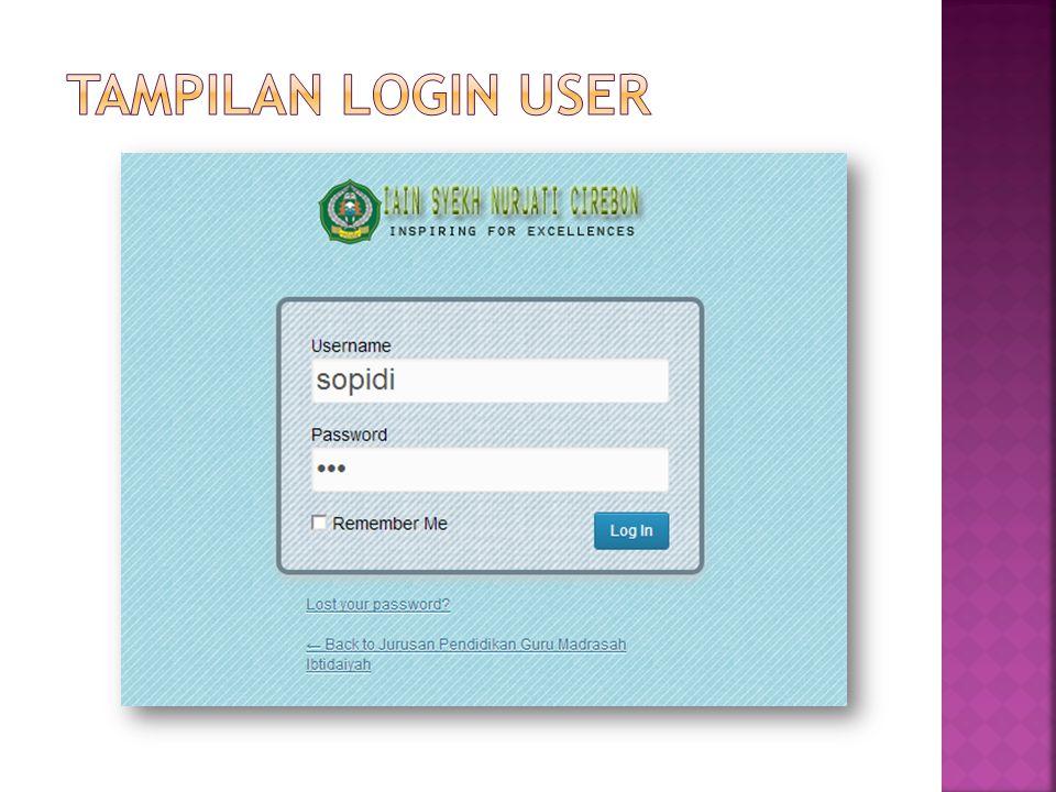 Tampilan login user