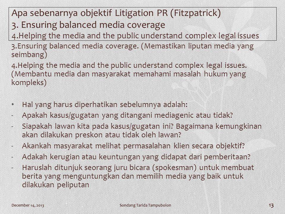 Apa sebenarnya objektif Litigation PR (Fitzpatrick) 3