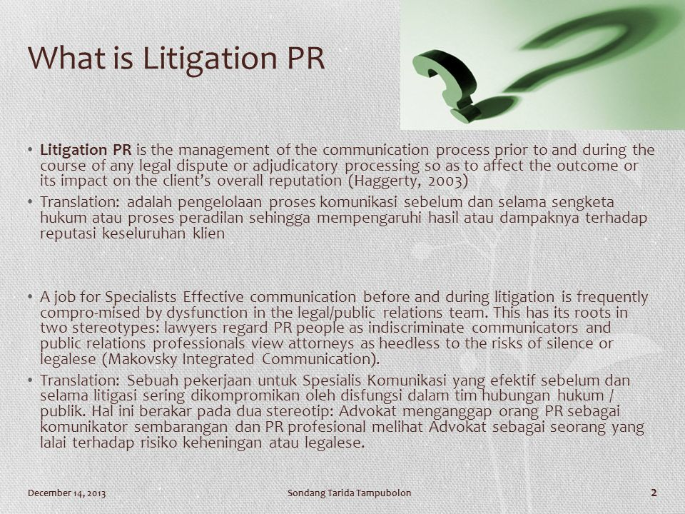 What is Litigation PR
