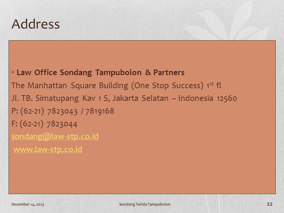 Address Law Office Sondang Tampubolon & Partners