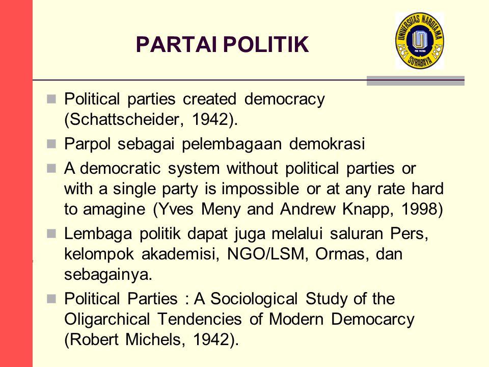 PARTAI POLITIK Political parties created democracy (Schattscheider, 1942). Parpol sebagai pelembagaan demokrasi.