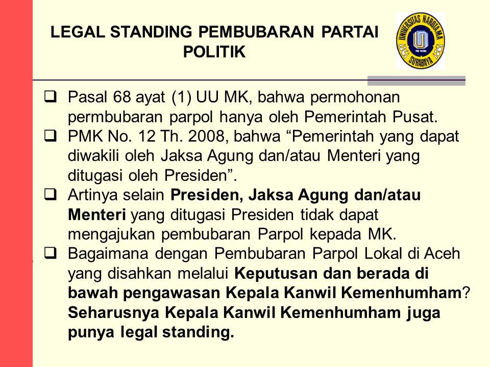 LEGAL STANDING PEMBUBARAN PARTAI POLITIK