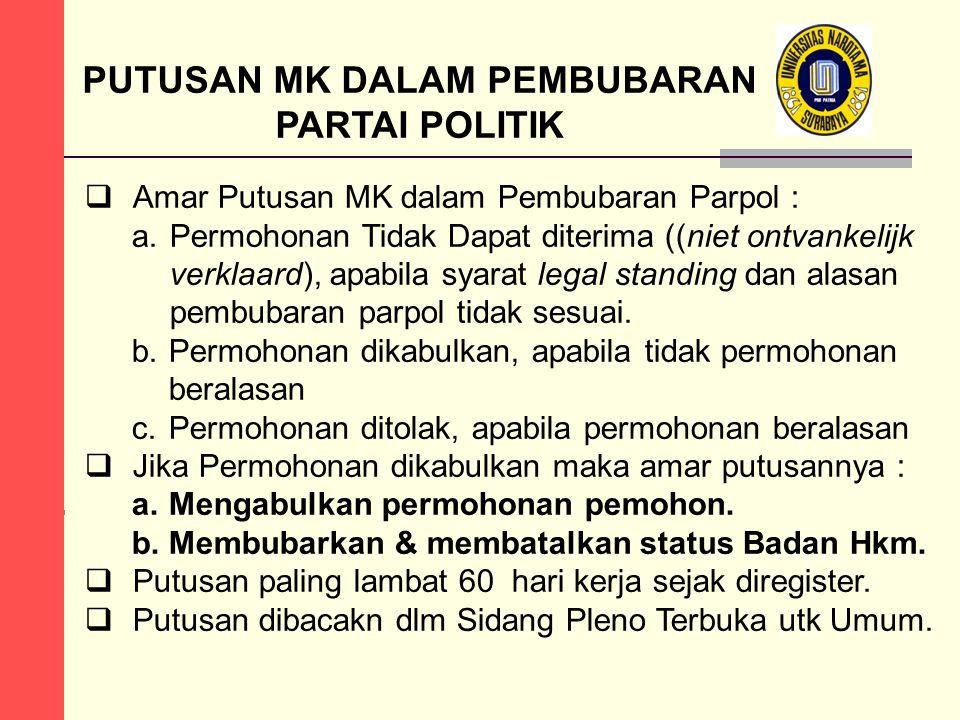 PUTUSAN MK DALAM PEMBUBARAN PARTAI POLITIK