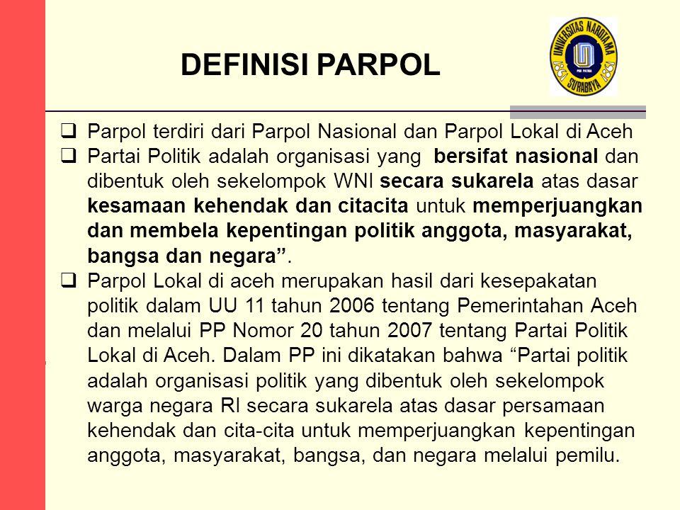 DEFINISI PARPOL Parpol terdiri dari Parpol Nasional dan Parpol Lokal di Aceh.