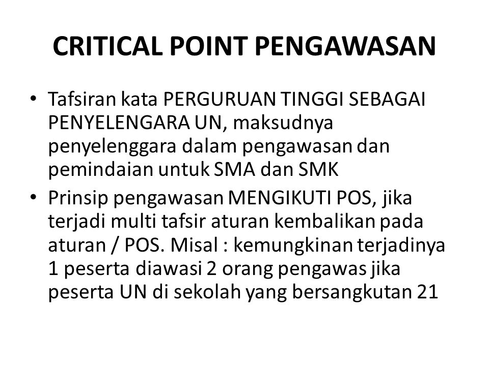 CRITICAL POINT PENGAWASAN