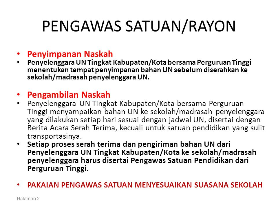 PENGAWAS SATUAN/RAYON