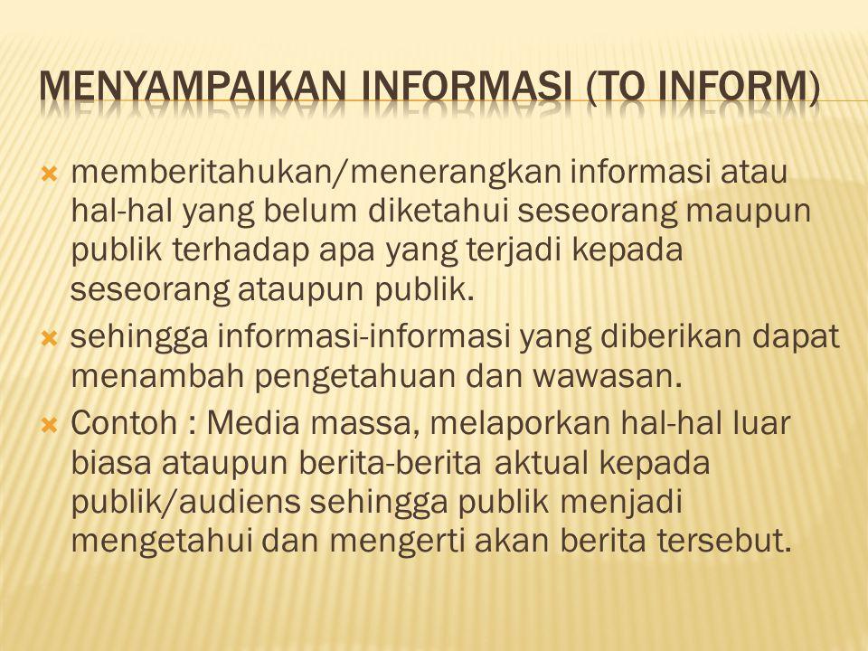 Menyampaikan informasi (to inform)