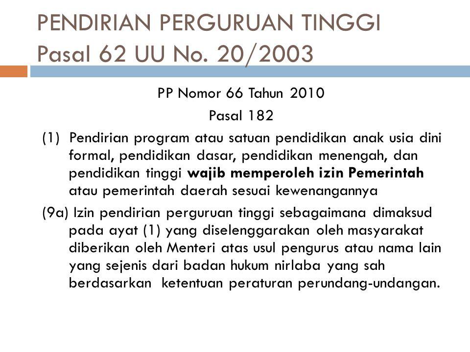 PENDIRIAN PERGURUAN TINGGI Pasal 62 UU No. 20/2003
