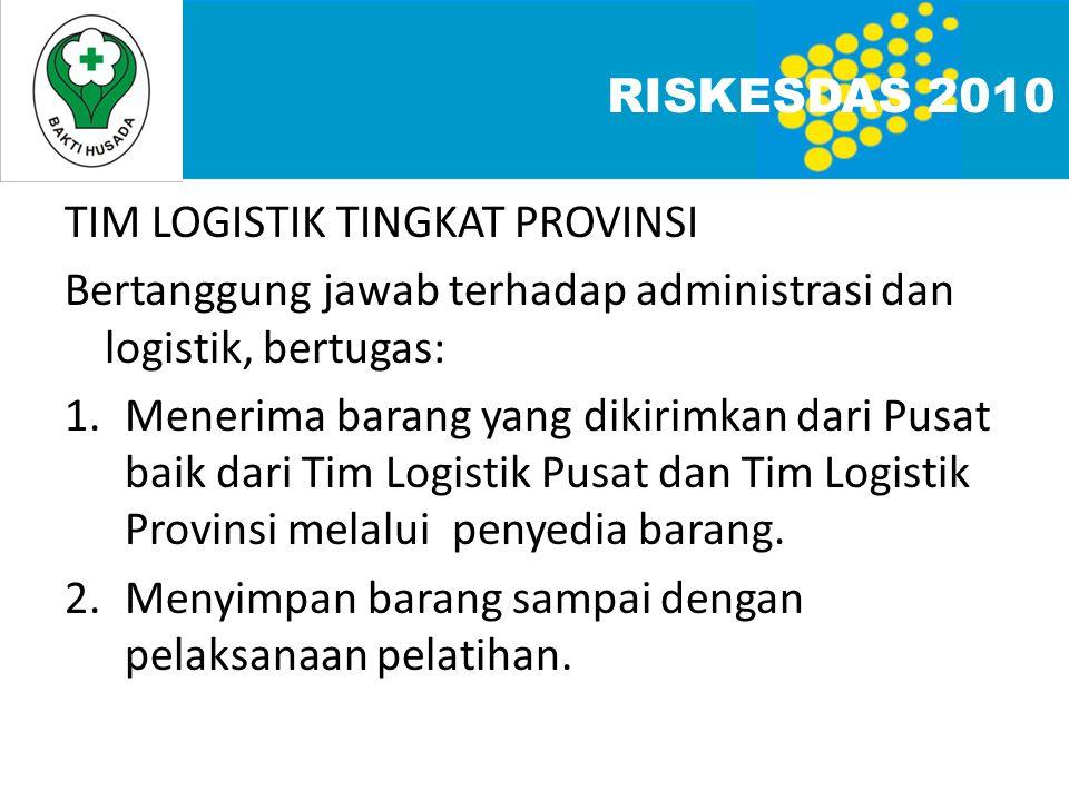 RISKESDAS 2010 TIM LOGISTIK TINGKAT PROVINSI. Bertanggung jawab terhadap administrasi dan logistik, bertugas: