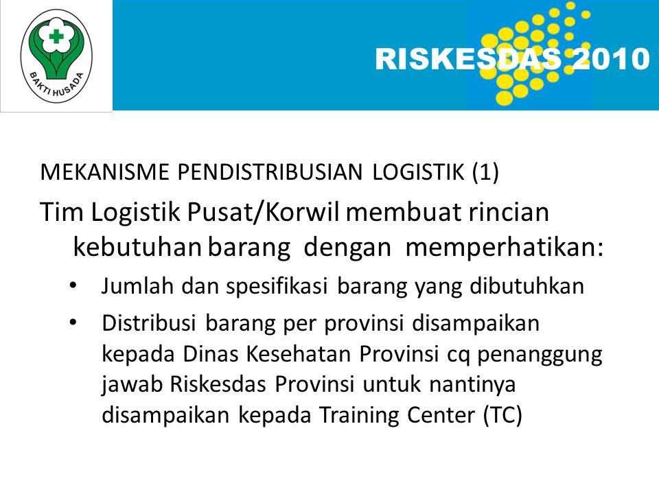 RISKESDAS 2010 MEKANISME PENDISTRIBUSIAN LOGISTIK (1) Tim Logistik Pusat/Korwil membuat rincian kebutuhan barang dengan memperhatikan: