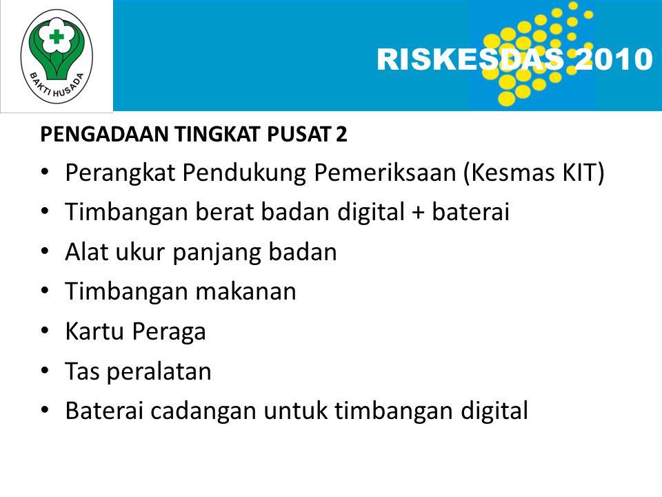 RISKESDAS 2010 Perangkat Pendukung Pemeriksaan (Kesmas KIT)
