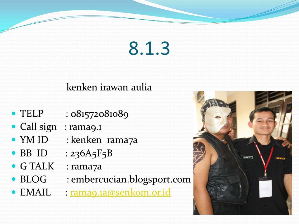 8.1.3 kenken irawan aulia TELP : 081572081089 Call sign : rama9.1