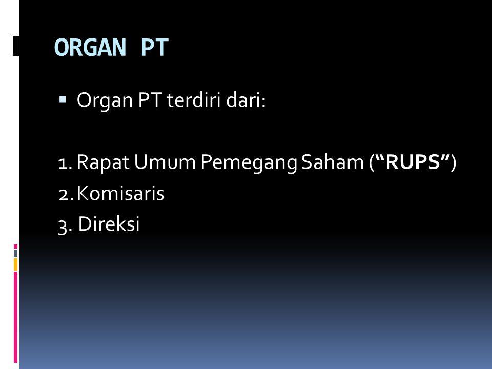 ORGAN PT Organ PT terdiri dari: 1. Rapat Umum Pemegang Saham ( RUPS )
