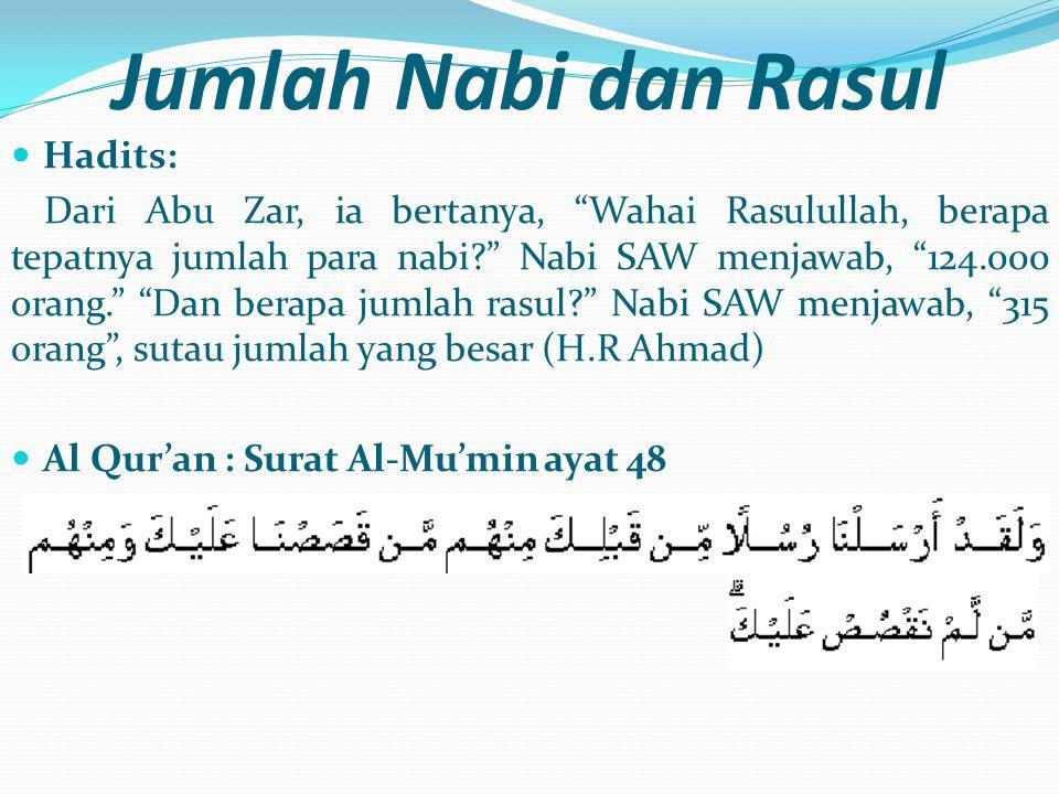 Jumlah Nabi dan Rasul Hadits: