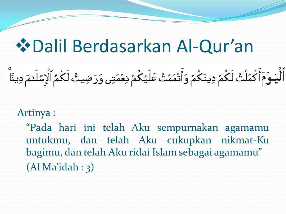 Dalil Berdasarkan Al-Qur'an