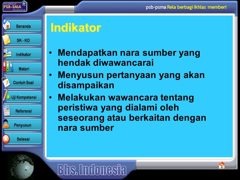 Indikator Mendapatkan nara sumber yang hendak diwawancarai