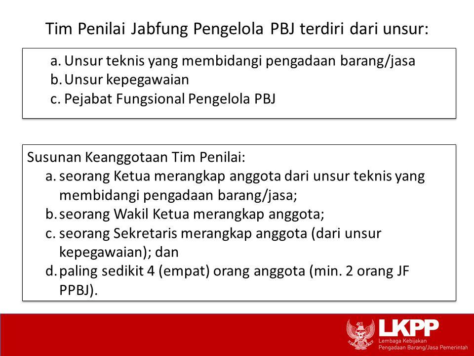 Tim Penilai Jabfung Pengelola PBJ terdiri dari unsur: