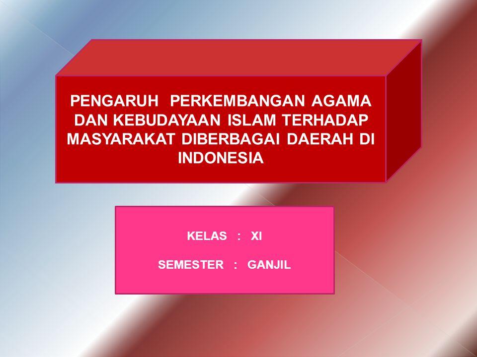 PENGARUH PERKEMBANGAN AGAMA DAN KEBUDAYAAN ISLAM TERHADAP MASYARAKAT DIBERBAGAI DAERAH DI INDONESIA