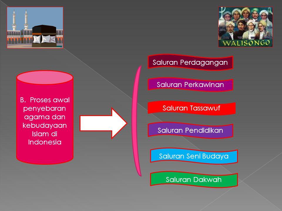 B. Proses awal penyebaran agama dan kebudayaan Islam di Indonesia