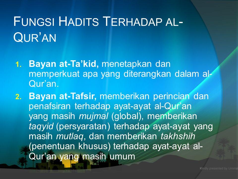Fungsi Hadits Terhadap al-Qur'an