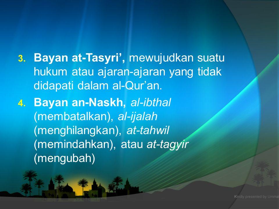 Bayan at-Tasyri', mewujudkan suatu hukum atau ajaran-ajaran yang tidak didapati dalam al-Qur'an.