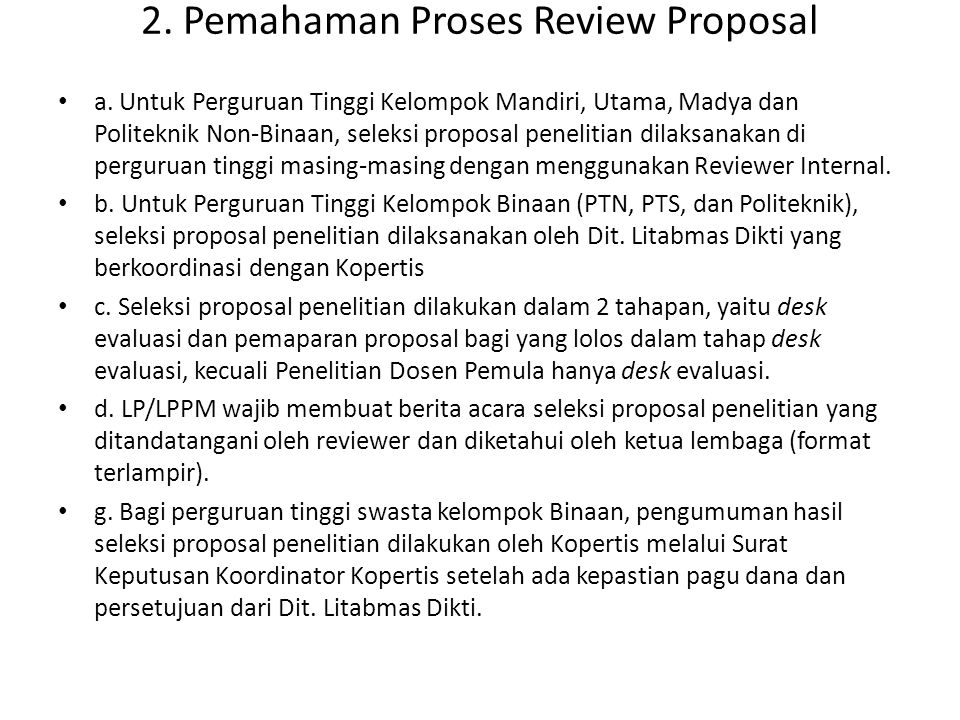 2. Pemahaman Proses Review Proposal