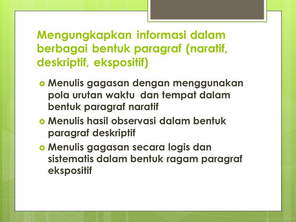 Mengungkapkan informasi dalam berbagai bentuk paragraf (naratif, deskriptif, ekspositif)