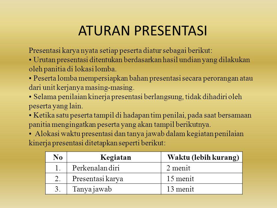 ATURAN PRESENTASI Presentasi karya nyata setiap peserta diatur sebagai berikut: