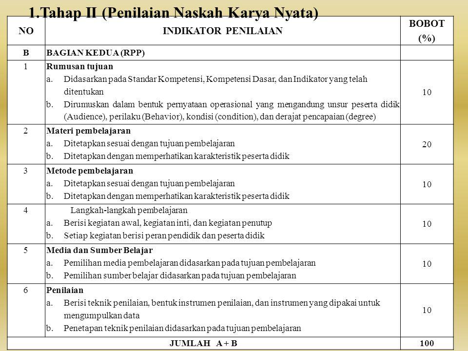 Tahap II (Penilaian Naskah Karya Nyata)