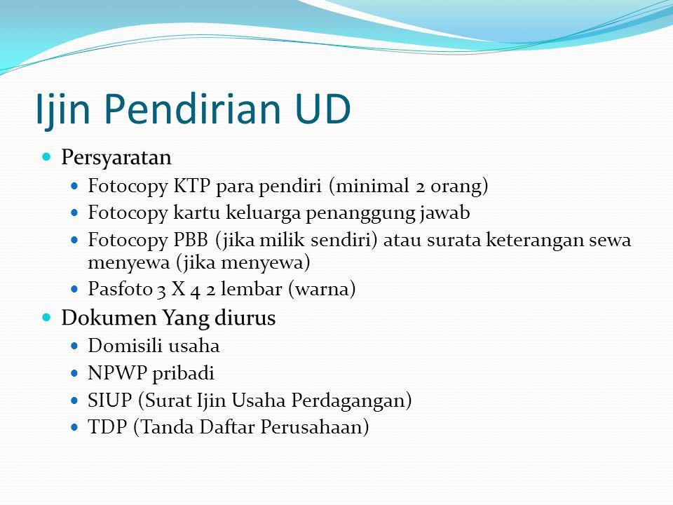 Ijin Pendirian UD Persyaratan Dokumen Yang diurus