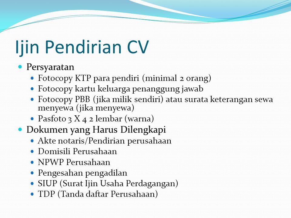 Ijin Pendirian CV Persyaratan Dokumen yang Harus Dilengkapi