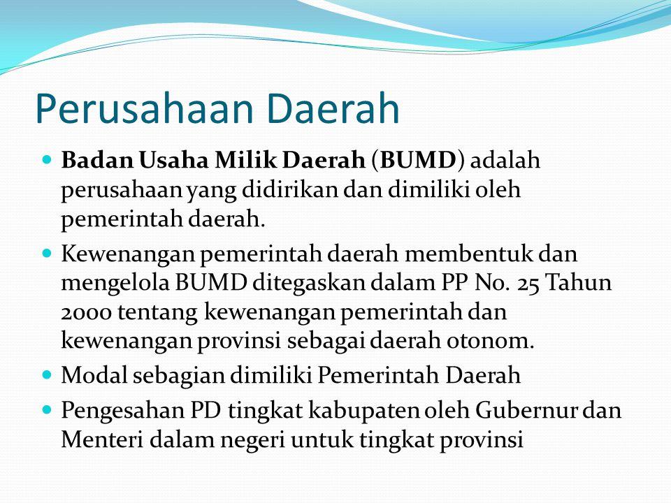 Perusahaan Daerah Badan Usaha Milik Daerah (BUMD) adalah perusahaan yang didirikan dan dimiliki oleh pemerintah daerah.