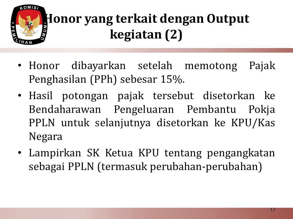 Honor yang terkait dengan Output kegiatan (2)