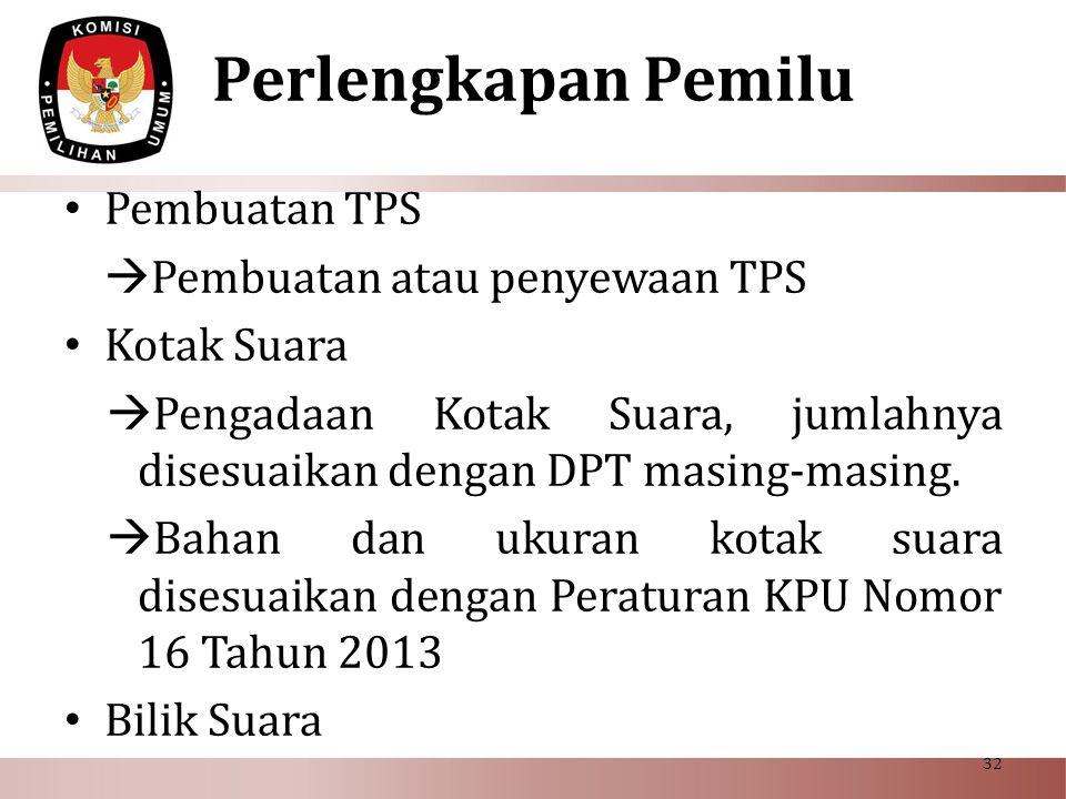 Perlengkapan Pemilu Pembuatan TPS Pembuatan atau penyewaan TPS