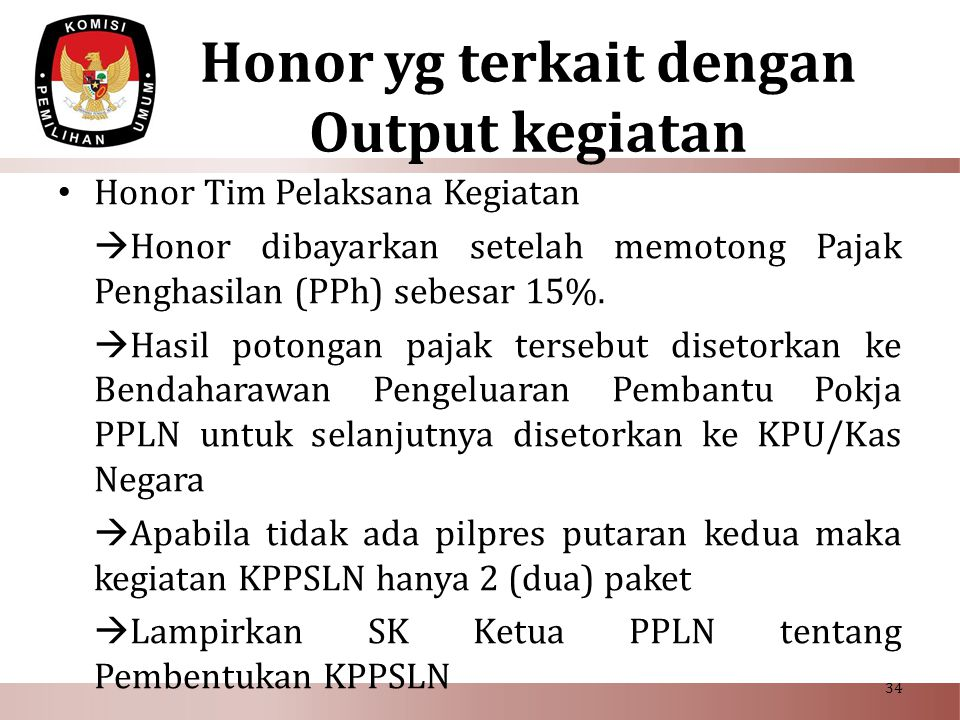 Honor yg terkait dengan Output kegiatan