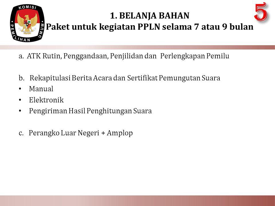 1. BELANJA BAHAN Paket untuk kegiatan PPLN selama 7 atau 9 bulan
