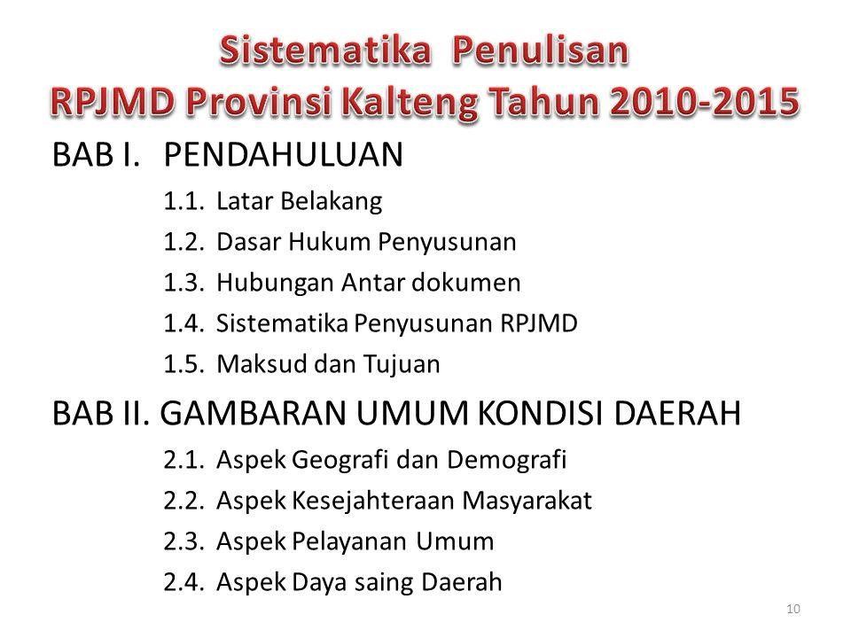 Sistematika Penulisan RPJMD Provinsi Kalteng Tahun 2010-2015