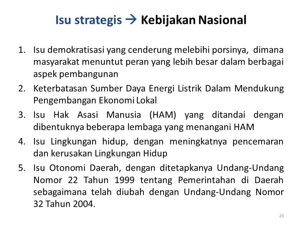 Isu strategis  Kebijakan Nasional