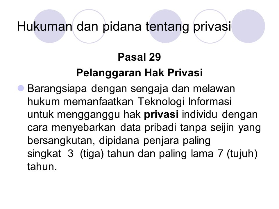 Hukuman dan pidana tentang privasi