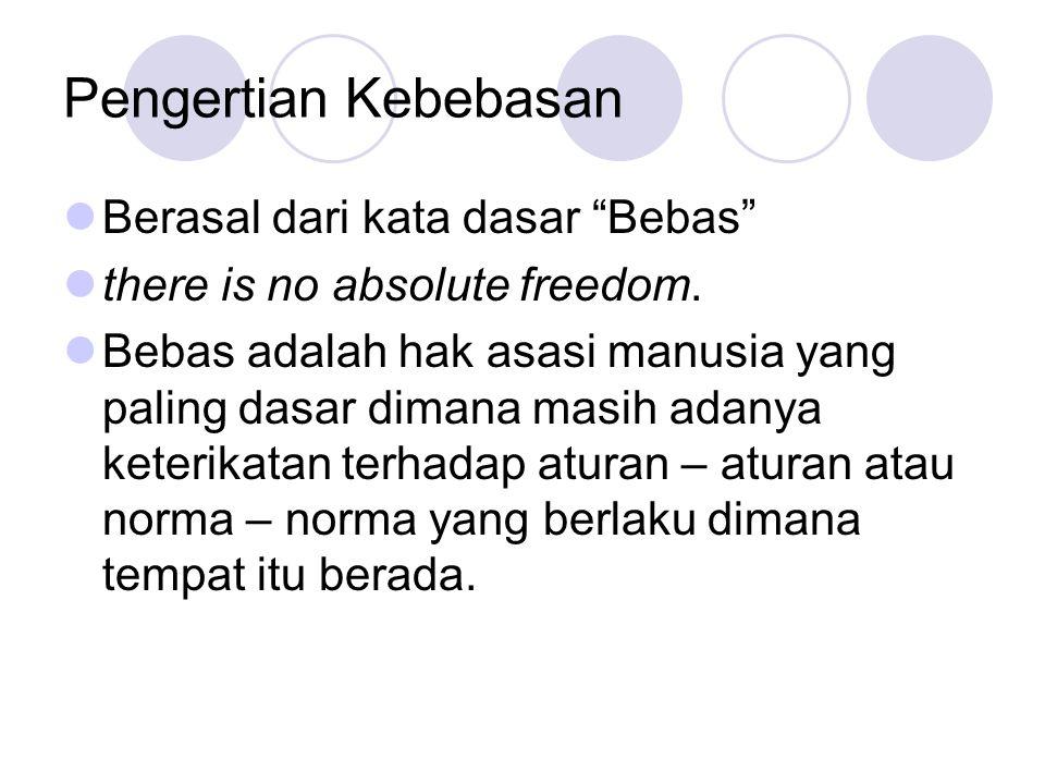 Pengertian Kebebasan Berasal dari kata dasar Bebas