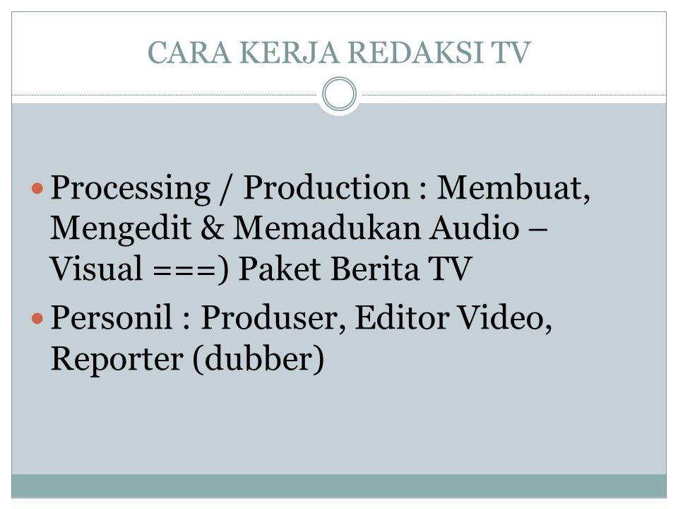 Personil : Produser, Editor Video, Reporter (dubber)