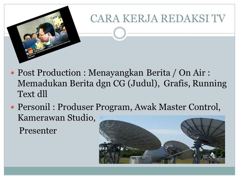 CARA KERJA REDAKSI TV Post Production : Menayangkan Berita / On Air : Memadukan Berita dgn CG (Judul), Grafis, Running Text dll.